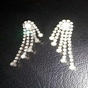 Jewelry - Vintage silver & rhinestone angel wings earrings